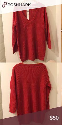 NWT Red Millau LF V-Neck sweater Red Millau LF V-Neck oversized sweater/sweater dress. Millau Sweaters V-Necks