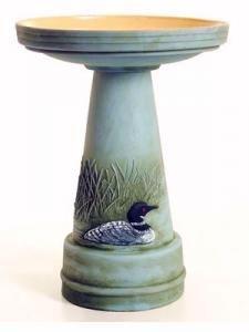 Hand Painted Painted Loon Birdbath.