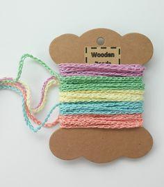 Hilos para ganchillo - 5 metros cordón tejido a mano, 2-3 mm 5 colores - hecho a mano por woodenbeads en DaWanda