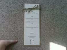 Rustic themed menu card :  wedding diy menu reception rustic IMG00286 20120303 1359