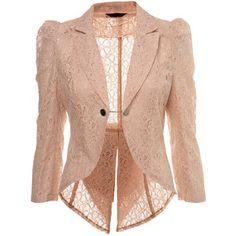 Shop soft touched feminist lace jackets lace jacket miss selfridge nude lace tails jacket - shopstyle blazers ZYWGTCK Lace Blazer, Lace Jacket, Pink Jacket, Beige Blazer, Casual Blazer, Blazer Outfits, Sleevless Blazer, Cream Jacket, Jacket Jeans