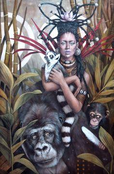 Kimia by Sophie Wilkins Black Girl Art, Black Women Art, African American Art, African Art, Art Afro, Arte Fashion, Arte Do Kawaii, Magic Realism, Black Artwork