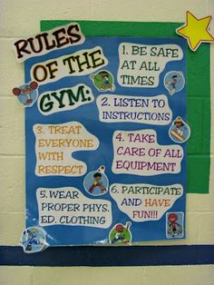 Like any other class at school, the gym has to have its own set of rules. Like any other class at school, the gym has to have its own set of rules. Elementary Physical Education, Elementary Pe, Health And Physical Education, Health Class, Pe Rules, Class Rules, Pe Bulletin Boards, Pe Lesson Plans, Pe Activities