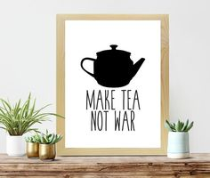 A lovely, black & white Make Tea Not War printable poster perfect for any kitchen or office desk. Looking to revamp your home decor? Look no further. THIS LISTING IS FOR DIGITAL FILES AVAILABLE FOR INSTANT DOWNLOAD ONLY, NO PHYSICAL ITEM WILL BE SHIPPED. You will receive: 18 x 24 High Resolution PDF & JPG This file can easy be scaled down for smaller sizes. Buying and printing artwork has never been easier. Once purchased and payment is confirmed, you will be redirected to a download page…