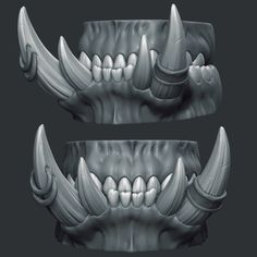 The mouth interior for the Grommash Hellscream fan art I'm working on. I did my best to get close-fitting functional bite, despite the natural underbite. In humans, if there is even 3mm of spacing between the upper and lower teeth, you start speaking with a lisp and have trouble eating. I wouldn't want Grom to be drooling all over himself, so to have a semblance of normal function, I opted to make the entire upper row of teeth the smaller row. The teeth interlock normally otherwise, ...