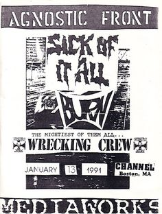 Agnostic Front, Sick of it All, Wrecking Crew punk hardcore flyer Posters Diy, Tour Posters, Music Posters, Music Flyer, Concert Flyer, Hardcore Music, Punk Poster, Vintage Concert Posters, Black And White Artwork
