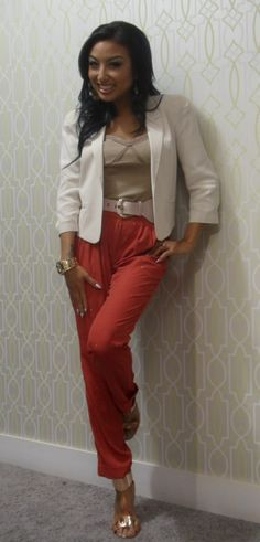 Cream Blazer | Taupe Cami | Orange Pants | (Jeannie Mai)