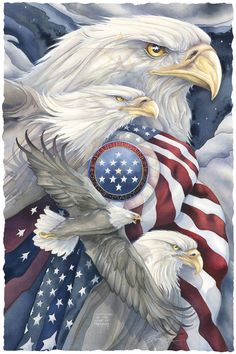 Bergsma Gallery Press :: Paintings :: Nature :: Birds :: Eagles :: Together We Stand, United We Soar - Prints I Love America, God Bless America, America America, American Pride, American Flag, American Soldiers, Graffiti Kunst, Together We Stand, Animal Gato