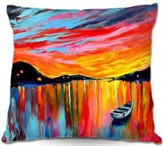 Woven pillow landscape sunset art by Aja 16x16 18x18 20x20 26x26 inches Red Sky At Night