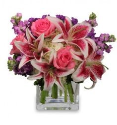 """Stunning colors & scent comes w a """"More than Words"""" bouquet! #lilies, #hydrangea & #roses! http://www.uniqueflowerfashions.com/product/va07912/more-than-words#utm_sguid=165374,794fc5f4-2e53-ca72-2cb3-2254010c09fd"""