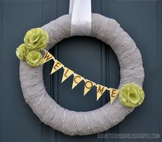 Maybe it's the fact that the door color matches ours, but this wreath is SUPER cute (LOVING navy and lime right now!) and i think i might have to make one.