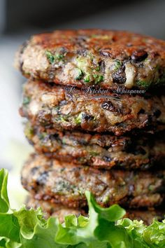 Chunky Portobella Veggie Burgers by thekitchenwhisperer #Burger #Veggie #Portobella