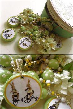 Unikat Oster-Deko Girlande versilbert Hasen Blüten