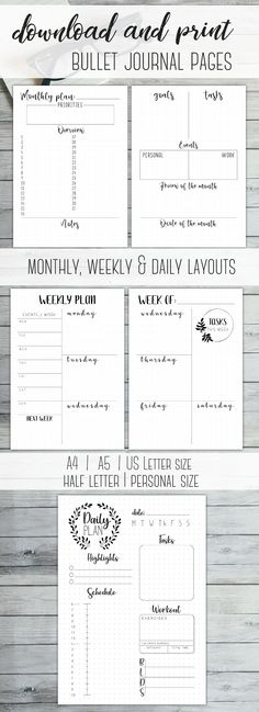 Download and Print Bullet Journal Pages