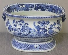Antique Chinese Blue and White Porcelain Footbath.