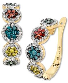 Le Vian 14k Honey Gold™ Earrings, Mixberry™ Diamond Circle Earrings (1-1/2 ct. t.w.) - Diamonds - Jewelry & Watches - Macy's