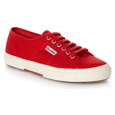 Superga 2750 Cotu Classic RED (4.310 RUB) ❤ liked on Polyvore featuring shoes, breathable shoes, superga shoes, superga and red shoes