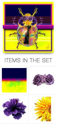 """Purple & Yellow Beetle Art"" by judymjohnson ❤ liked on Polyvore featuring art, Flowers, bug and judymjohnson"
