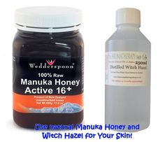 Witch Hazel and Manuka Honey, Natural Skin Care that is inexpensive and safe. Find out more about how these two products combined can help you to have a clearer, brighter, blemish-free complexion!