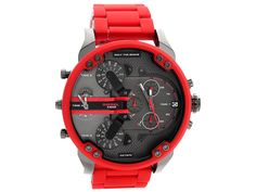 """Daddy Red Watch Be the best-accessorized guy in the room with the red metal Diesel Mr. The oversized gunmetal dial features the Diesel logo and """"Only the Brave"""" tags. Casual Watches, Cool Watches, Red Watches, Amazing Watches, Elegant Watches, Stylish Watches, Relogio Invicta Pro Diver, Daddy, Herren Chronograph"""