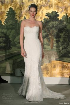 anne barge bridal spring 2014 bouquet strapless wedding dress lace sheath