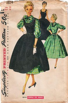 1950s Simplicity 4814 Vintage Sewing Pattern Misses Full Skirt