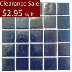 "Art Studio 9/16"""" x 9/16"" Deep Blue Glass Mosaic Clearance Sale - $2.95 sq.ft"