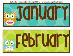 Owl calendar header. Months of the year.