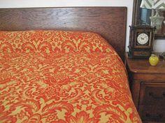 Vintage Damask Jacquard Woven Cotton Red/Orange by vintagecarliss