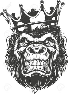 Illustration of Vector illustration, ferocious gorilla head on with crown, on white background vector art, clipart and stock vectors. King Tattoos, Body Art Tattoos, Tattoo Sleeve Designs, Sleeve Tattoos, Tattoo Sketches, Tattoo Drawings, Gorilla Wallpaper, Tattoo Dotwork, Gorilla Tattoo