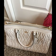 NWT Coach Morgan Chalk gathered leather Twisted gathered leather satchel 14.5 X 10 X 5.75 Gold hardware front and back exterior pockets, Leather top handles With detachable adjustable leather cross body strap Gorgeous color chalk Also, available in pink $675 retail Coach Bags Satchels