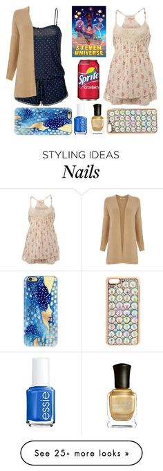 """""""Ever After High Sleepover: Navy and Gold Girl and Bejeweled Girl"""" by becka-ramey on Polyvore featuring Miss Selfridge, Oasis, claire's, Casetify, Essie and Deborah Lippmann"""