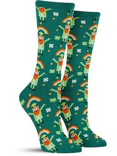 Fun Rainbow Lephrechaun St. Patrick's Day Socks for Women, green