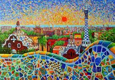 Barcelona Poster featuring the painting Barcelona View At Sunrise - Park Guell Of Gaudi by Ana Maria Edulescu