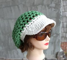 Spring Green Slouchy Brimster   READY to SHIP by Threadmill, $29.00