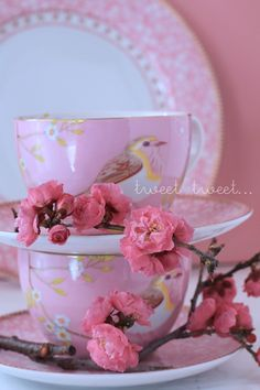 my styling - peach blossom and bird printed tea cups (pip studio)