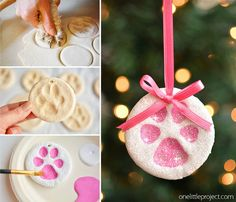 diy christmas These puppy paw print salt dough ornaments are SO CUTE! And theyre such a fun way to celebrate our furry friends! Such a sweet Christmas keepsake idea! Paw Print Crafts, Dog Crafts, Diy Christmas Ornaments, Baby Crafts, Christmas Art, Holiday Crafts, Dog Christmas Gifts, Homemade Ornaments, Christmas Flowers