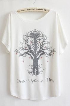 White Batwing Short Sleeve Wishing Tree Print T-Shirt - Sheinside.com