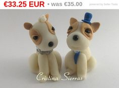 Dog Couple Weding Cake topper.   This is an example of a custom made Weeding Cake topper that I created, marrying dogs. I can customize the colour just for you!  Aproxim... #wedding #groom #marroriage #baptism #sitting #baptis #dogs