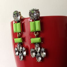 "Spotted while shopping on Poshmark: ""Lime green and crystals earrings""! #poshmark #fashion #shopping #style #Jewelry"