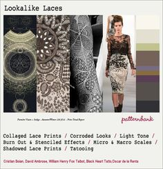 I had purchased the Trend report AW 12-13 by #Patternbank and used this Lookalike Lace Trend. Here's a mini-moodboard showcasing this trend. Enjoy!