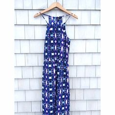 Tie Dye Trapeze Slit Maxi Forever 21 blue, purple and White tie-dye print maxi dress. Floorlength with long slit up the side as seen second picture with a trapeze style top and keyhole open back. never worn brand-new without tags, size medium. No trades, open to all offers and will discount on all bundles  Forever 21 Dresses
