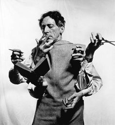 """© Philippe Halsman, 1948, Portrait of Jean Cocteau --- """"The greatest masterpiece in literature is only a dictionary out of order."""" (Jean Cocteau)  --- Before Photoshop, there was Philippe Halsman. His dynamic and imaginative photography broke the rules of the day... (read more here: http://burnedshoes.tumblr.com/post/20669913919/philippehalsman)  #philippehalsman #jeancocteau #blackandwhite"""