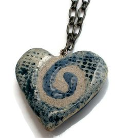 Blue Denim Twisted Spiral Clay Heart Pendant -- DO NOT wear jeans w/o it!