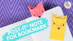 Learn how to make an origami post-it® note fox bookmark! Folding origami with post-it® notes are easy and fun. These paper bookmarks take advantage of the ad. Origami Tree, Star Wars Origami, Origami Gifts, Kids Origami, Origami And Kirigami, Money Origami, Paper Crafts Origami, Paper Crafts For Kids, Origami Easy