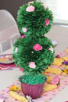 Topiary made with tissue paper and silk flowers