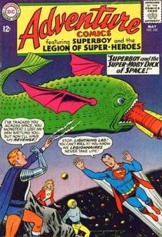 """Adventure Comics The Legion of Super-Heroes. """"Superboy and the Super Moby Dick of Space. Old Comics, Dc Comics Art, Vintage Comics, Vintage Books, Dc Comic Books, Comic Book Covers, Comic Art, Marvel Comics Superheroes, Marvel Dc"""