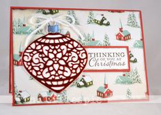 Stampin Up Delicate Ornaments Thinlits and Home for Christmas DSP. Tina Gillespie.
