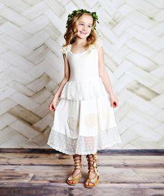 $34.99 marked down from $96! Cream Crochet Tank Dress - Toddler & Girls #toddler #girls #dress #boho #wedding #zulily! #zulilyfinds
