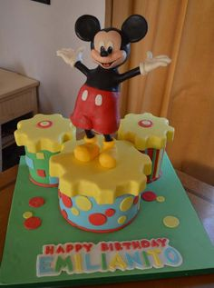 Mickey Mouse Birthday Cake. Or make one cake for birthday boy and cupcakes for guests that look like gears